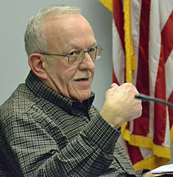 City Council Health Service and Safety Committee Chair John Marshall gives a report on a meeting on nuisance buildings Monday evening. (Dave Mosier/Van Wert independent)