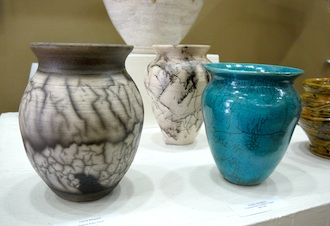 Pots by Carrie Anspaugh were fired with horsehair to create this interesting and intricate pattern across their surface. (Photo submitted.)