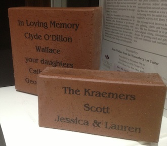 Memorial or honorary paver samples that will be used around the new Wassenberg Art Center.