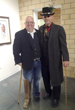 "Brent Stevens, donor of ""Faces of Little Bighorn,"" and our own commissioner Thad Lichtensteiger striking a pose and having fun at a Wassenberg event.  (Photo submitted.)"