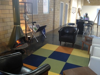 Sitting area with vintage fireplace in Wassenberg Art Center. (Photo submitted.)