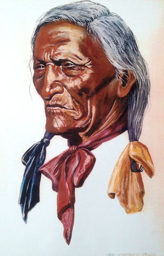 (Painting by David Humphreys Miller.) Joseph High Eagle was an Oglala Sioux warrior aged 16 in 1876.  He fought in the Battle of Little Big Horn under his cousin Crazy Horse. In 1950, he was killed by a careless hit-and-run motorist while he stood at the side of a road.  David Humphreys Miller also painted him in full headdress.  Miller's paintings can be seen in the gallery at the Wassenberg Art Center. (Photo submitted.)