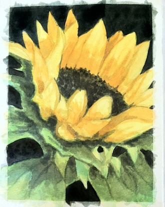 Sunflower painted by Patra, an artist who is diagnosed with autism.  (Photo submitted.)