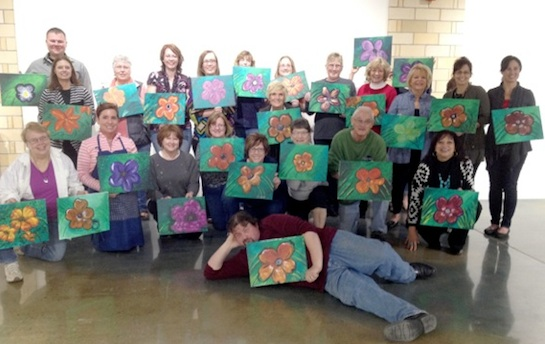 On April 8 we had our third Vine and Palette painting session and as usual it was a great time. Inspired by artist Georgia O'Keefe and severe cases of spring fever, we painted a large flower. What was even better is some of the participants felt comfortable exploring on their own with color and technique.  (Photo submitted.)