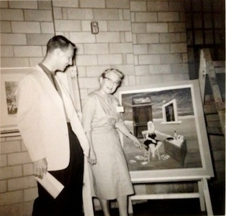 Katy Mounts, one of the original Wassenberg Art Club leaders is pictured here enjoying artwork from the Wassenberg June Art Exhibit in 1960. (Photo submitted.)