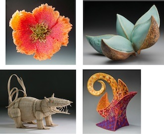 "Four examples of the 40-piece exhibit ""The Best of 2014"" set to open Saturday at the Wassenberg Art Center. Artists clockwise are: M. Hickman –Romine, B. Tarbel, E. Runyon, and J. Kahle. (Photo submitted.)"