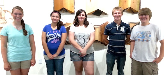 One Stop Summer employees at the Wassenberg Art Center. Pictured left to right are: Christina Emery, Jaylynn Hofacker, Tiffany Fuerst, Justin Hammond, Marshall Healy. Not pictured, Casey Kiracofe. (Photo submitted)