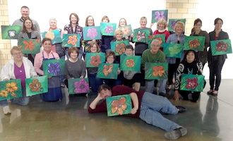 Photo caption #1: The Vine & Palette sessions at the Wassenberg Art Center are a great time for all. Techniques are used to assure a stress free experience. (Photo submitted.)