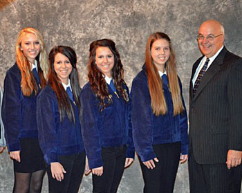 Crestview FFA team members (from the left) Lauren Schmid, Olivia Leary, Hannah Leary, Layken Klinger with advisor Paul Pohlman. (photo submitted)