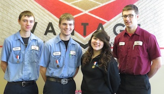 SkillsUSA State Qualifiers – These students are on their way to the State SkillsUSA competition in April.  From left: Derek Schroeder (Kalida), CNC Milling; Cole Ketchum (Parkway), CNC Turning; Bianka Robach (Continental) Nurse Assisting; and Tyler Foust (Delphos Jefferson) Auto Tech.  Unavailable for the picture was Corey Booher (Parkway), Collision Repair.  (Photo submitted.)