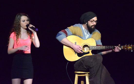 """2015 """"Ohio Has Talent!"""" winner Sam Duquette (left) sings as Aaron Cooper accompanies her. (Dave Mosier/Van Wert independent)"""