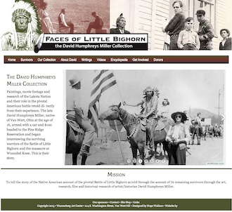 Image of the home page of the Faces of Little Bighorn website that is administered by the Wassenberg Art Center. (Photo submitted.)