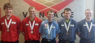 Vantage SkillsUSA Medal Winners:  Brandon Kimmet (Ottoville), Chris Bauer (Paulding), Cole Ketchum (Parkway), Jeremiah Dealey (Crestview), and Nick Grote (Ottoville). (Photo submitted.)