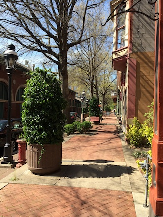 View of a downtown street in Paducah, Kentucky. Vacant nooks and crannies were filled with plantings and outdoor seating areas were plentiful to provide many places to linger. An advantage of small communities; access to music, art, food, unique shopping and theater were all within walking distance. (Photo submitted.)