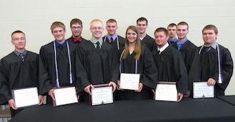 Vantage class of 2015 Award of Distinction winners: Front row: Caleb Bender, David Leathers, Nick Grote, Jill Ross, Arik Mitchener, Cole Ketchum, Dmitry Billingsley.  Back row: Tyler Foust, Tyler Talboom, Austin Schulte, Derek Schroeder.  Unavailable for the picture was Marty Hessler. (Photo submitted.)
