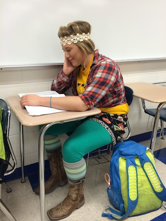 Senior Jada Preston wears a not-so-stylish ensemble while participating in Fashion Disaster Day on Tuesday. (Photo submitted.)