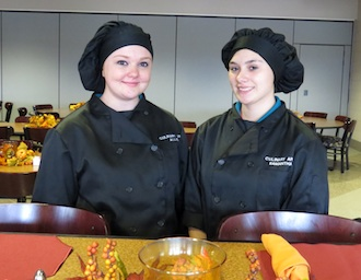 Culinary Arts students Allie Mihm and Samantha Ortiz, both from Van Wert, invite you to the Thanksgiving Lunch Buffet at Vantage.  (Photo submitted.)