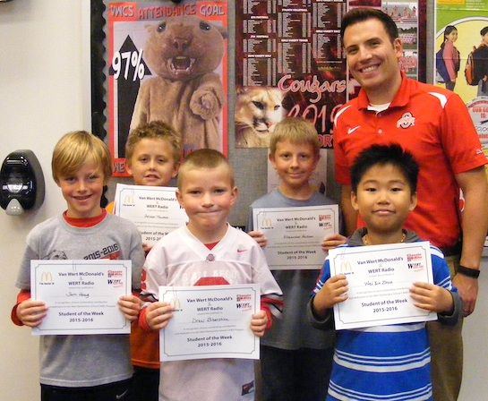 Congratulations to the Van Wert Elementary School students chosen for the Word of the Week award!  Pictured with Mr. Krogman, Assistant Principal, are students chosen by their teachers for following through on their promises.  Award winners this week are Drew, grade 1; Wei, grade 2; Sam, grade 3; Alexander, grade 4; and Anson, grade 5.  Each child received a free Mighty Kids Meal from our local McDonalds, a Bounce Certificate from The Kangaroo Cave, Delphos, OH, and a certificate from WERT Radio. (Photo submitted.)