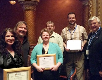 Hope Wallace and Scott Kramer of the Wassenberg Art Center, Melody and Scott Hileman of Truly D'vine Bread Co., Main Street Van Wert Program Manager Adam Ries, and Van Wert City Councilman Jerry Mazur received recognition at Heritage Ohio's Annual Revitalization and Preservation ceremony in Columbus on Oct. 6.  (Photo submitted.)