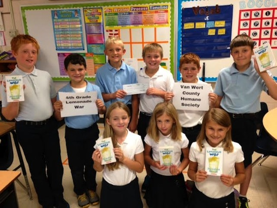 St. Mary of the Assumption's fourth grade class had a lemonade war after reading the book The Lemonade War by Jacqueline Davies.  The students made a list of supplies needed and created a budget. Each group then made lemonade to sell to the whole school. The winning group collected all of the other group's profits and was able to donate the earnings to an organization of their choice.  All of the proceeds this year were given to the Van Wert County Humane Society.  (Photo submitted.)