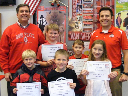 Congratulations to the Van Wert Elementary School Students chosen for the Word of the Week award!  Pictured with Mr. Gehres, Principal, and Mr. Krogman, Assistant Principal, are students chosen by their teachers for giving everyone a fair chance.  Award winners this week are Keaten, grade 1; Trevor, grade 2; Carlee, grade 3; Kaydin, grade 4; and Karter, grade 5.  Each child received a free Mighty Kids Meal from our local McDonalds, a Bounce Certificate from The Kangaroo Cave in Delphos, and a certificate from WERT Radio. (Photo submitted.)