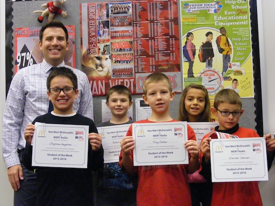Congratulations to the Van Wert Elementary School Students chosen for the Word of the Week award!  Pictured with Mr. Krogman, Assistant Principal, are students chosen by their teachers for being respectful of authority.  Award winners this week are Zander, grade 1; Trey, grade 2; Jaymison, grade 3; Tiera, grade 4; and Corbin, grade 5.  Each child received a free Mighty Kids Meal from our local McDonalds, a Bounce Certificate from The Kangaroo Cave, Delphos, OH, and a certificate from WERT Radio. (Photo submitted.)