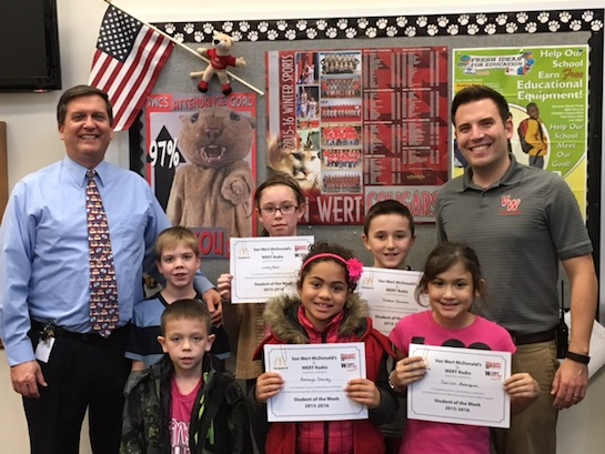 """Cooperation"" is the VWES Word of the Week   Congratulations to the Van Wert Elementary School Students chosen for the Word of the Week award!  Pictured with Mr. Gehres, Principal, and Mr. Krogman, Assistant Principal, are students chosen by their teachers for being cooperative and working well with others.  Award winners this week are Amaya, grade 1; Harley, grade 2; Robbie, grade 3; Delilah, grade 4; and Lizzy, grade 5.  Also in this photo are Kenton and Kylerr who were absent from last week's photo.  Each child received a free Mighty Kids Meal from our local McDonalds, a Bounce Certificate from The Kangaroo Cave of Delphos and a certificate from WERT Radio. (Photo submitted.)"