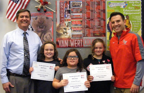 Congratulations to the Van Wert Elementary School Students chosen for the Word of the Week award!  Pictured with Mr. Gehres, Principal, and Mr. Krogman, Assistant Principal, are students chosen by their teachers for being forgiving and not holding grudges.  Award winners this week are Arkana, grade 1; Kylerr, grade 2; Mercades, grade 3; Hope, grade 4; and Kenton, grade 5.  Each child received a free Mighty Kids Meal from our local McDonalds, a Bounce Certificate from The Kangaroo Cave in Delphos, and a certificate from WERT Radio. (Photo submitted.)