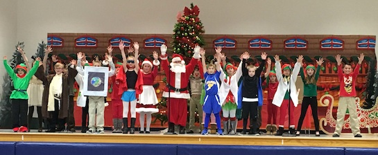 """On Dec. 10 the 3rd and 4th grade students presented """"The Incredible Reindeer"""" to a packed house at Lincolnview Elementary. Under the direction of Jennifer Slusher, this holiday musical told the story of how the Incredible Reindeer saved Christmas by destroying a comet headed for Earth and guiding Santa's sleigh through the fog.  It was an enjoyable evening of music and entertainment.  (Photo submitted.)"""