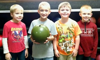 The Lincolnview Learning Academy is in its first year at Lincolnview Elementary and currently has 26 students attending for homework help, tutoring, and mentoring. From left are:  Emmett, Evan, Elijah, and Peyton. (Photo submitted.)