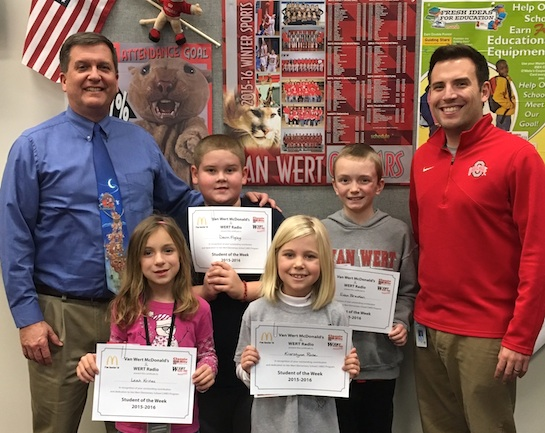 Congratulations to the Van Wert Elementary School Students chosen for the Word of the Week award. Pictured with Mr. Gehres, Principal, and Mr. Krogman, Assistant Principal, are students chosen by their teachers for being patient and willing to wait for others.  Award winners this week are Leah, grade 1; Jackson, grade 2; Kierstynn, grade 3; Devin, grade 4; and Evan, grade 5. Each child received a free Mighty Kids Meal from our local McDonalds, a Bounce Certificate from The Kangaroo Cave, Delphos, and a certificate from WERT Radio. (Photo submitted.)