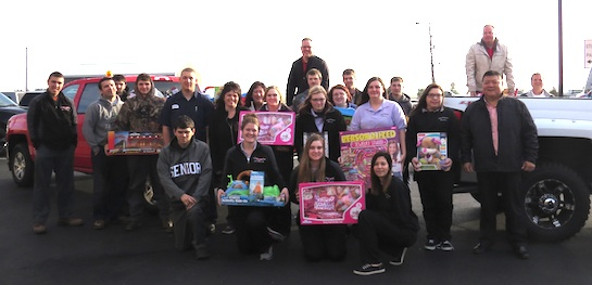 For the third year in a row, Vantage students and staff collected two truckloads of toys for the local Toss A Toy project.  A special thanks to Santa's helpers at Lee Kinstle GMC.  (Photo submitted.)