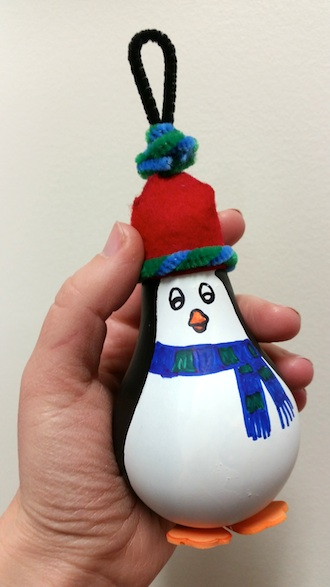 """This """"penguin"""" ornament is one of the featured projects at the Elf Workshop scheduled for Dec. 17 at the Wassenberg Art Center.  (Photo submitted.)"""