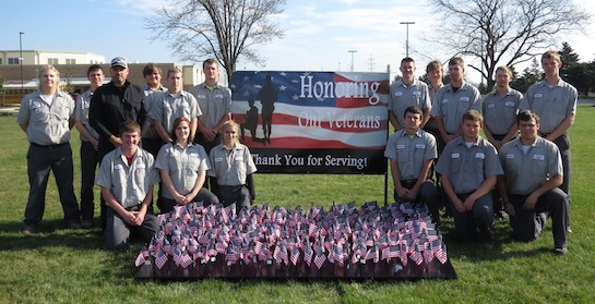 "Pictured with the flag field are the Vantage Carpentry classes who donated funds to purchase the 4 x 6 ""Honoring Our Veterans"" banner to accompany the flag field.  (Photo submitted.)"