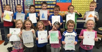 """The Kindergarten students at Lincolnview Elementary have been working daily on their writing skills. The students recently created """"How To Make"""" books because they have been learning about """"How-to"""" writing. The students spent several days working on their writing and illustrations. (Photo submitted.)"""
