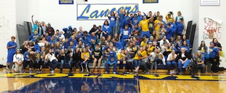 The junior high student body enjoyed participating in Crazy Spirit Day to support Lancer athletes. (Photo submitted.)