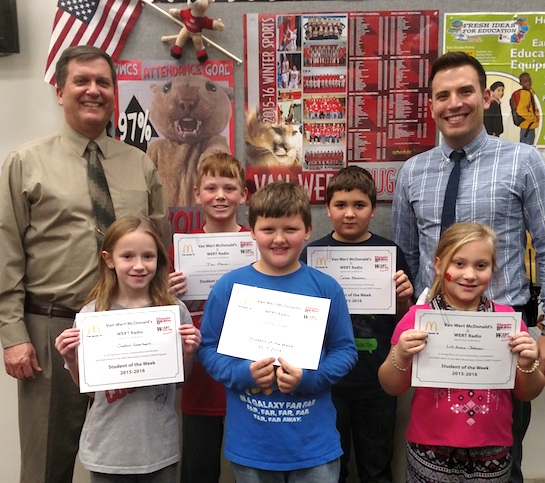 """Self-Control"" is the Word of the Week!   Congratulations to the Van Wert Elementary School Students chosen for the Word of the Week award!  Pictured with Mr. Gehres, Principal, and Mr. Krogman, Assistant Principal, are students chosen by their teachers for stopping and thinking before they act.  Award winners this week are LilliAnne, grade 1; Drake, grade 2; Sophia, grade 3; Caleb, grade 4; and Ian, grade 5. Each child received a free Mighty Kids Meal from our local McDonalds, a Bounce Certificate from The Kangaroo Cave, Delphos, and a certificate from WERT Radio. (Photo submitted.)"