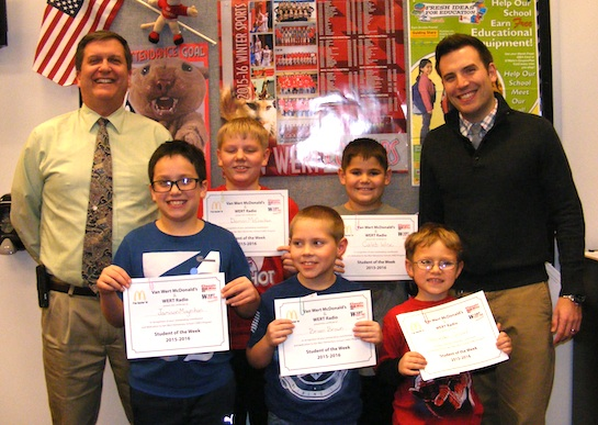 Congratulations to the Van Wert Elementary Students of the Week!  These children represent the Word of the Week, SPORTSMANSHIP, and received a free Mighty Kids Meal from our local McDonalds, a gift certificate to Kangaroo Cave, and a certificate from WERT Radio: Grade 1, Zander; Grade 2, Brian; Grade 3, Jaymison, Grade 4, Caleb; and Grade 5, Damon. (Photo submitted.)