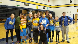 Junior High Student Council Members show their school spirit on Crazy Spirit Day to support the Lancer athletes. Left to right are Sami Sellers, Carson Bowen, Landon Moody, Brianna Ebel, Lana Carey, Clayton Harris, Jerron Taylor, Derick Doner, Dylann Carey, Tori Snyder, Ethan Rinehart, and in front is Kasey Stewart. (Photo submitted.)