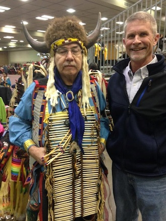 Thad Lichtensteiger and a participant at a Powwow at Rushmore Plaza Civic Center in Rapid City, S.D. (Photo submitted.)