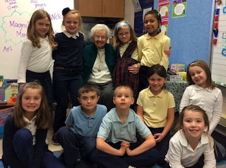 "The first grade class with Norma ""Toddy"" Rozelle-Diers. (Photo submitted.)"
