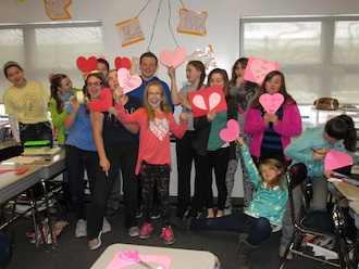 The Lincolnview Elementary Sixth Grade Agents of Change group recently celebrated Random Acts of Kindness week by creating and distributing Valentines throughout the school building.  The group meets every Wednesday at lunchtime with faculty facilitator Lindsay Litzenberg and school counselor Tonia Verville. The goal of Agents of Change is to promote a positive school culture through emphasis on kindness, generosity, and commitment to being a better person throughout the year.  (Photo submitted.)