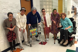 Lincolnview Elementary celebrated the 100th day of school on Monday, Feb. 1. The students celebrated with special 100th day activities and some of the elementary teachers got into the spirit of the day by dressing as 100-year-olds. (Photo submitted.)