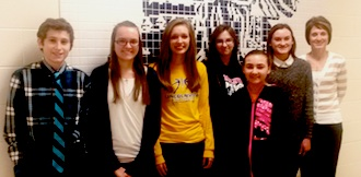 Students and teacher were chosen because they show that they care about our school.  8th - Joe Sadowski, 9th Rachel Hertel, 10th Frankie Carey, 11th Ryanne DuCheney, 7th Madison Coil, 12th Anna Gorman, and teacher Michelle Knodell. (Photo submitted.)