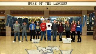 """The Lincolnview Junior High Student Council is participating in the """"Teens for Jeans"""" program.  They are accepting gently used jeans of any size until Friday, Feb. 19.  The jeans will be taken to a homeless shelter participating in the program.  (Photo submitted.)"""