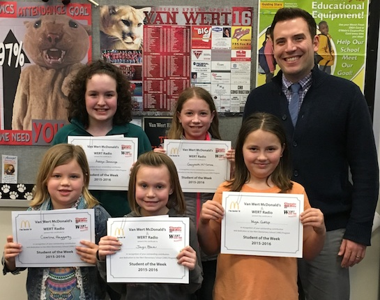 Congratulations to the Van Wert Elementary School Students chosen for the Word of the Week award!  Pictured with Mr. Krogman, Assistant Principal, are students chosen by their teachers for being dedicated and committed to doing excellent work.  Award winners this week are Caroline, grade 1; Jayci, grade 2; Mya, grade 3; Gwyneth, grade 4; and Ashlyn, grade 5. Each child received a free Mighty Kids Meal from our local McDonalds, a Bounce Certificate from The Kangaroo Cave, Delphos, OH, and a certificate from WERT Radio. (Photo submitted.)