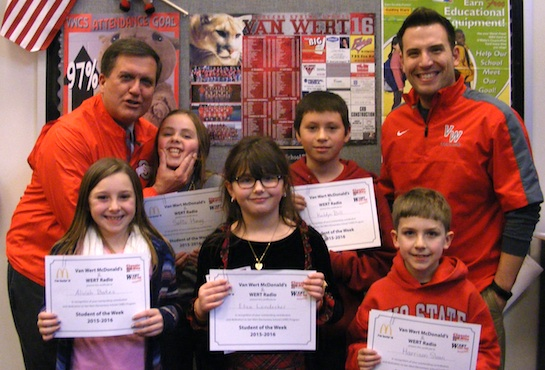 Congratulations to the Van Wert Elementary Students of the Week!  These children represent the Word of the Week, Excellence! Always give your best.  Pictured with Kevin Gehres, Principal, and Justin Krogman, Assistant Principal, are: Sophia, Grade 5; Keldyn, Grade 4; Aliviah, Grade 3; Eliza, Grade 2; and Harrison, Grade 1.  Each winner received a free Mighty Kids Meal from our local McDonald's, a gift certificate to Kangaroo Cave, and a certificate from WERT Radio. (Photo submitted.)