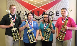 Vantage Business Professional of America (BPA) 2016 National qualifiers show off their hardware. From left: Spencer Wannemacher, Alexis Forester, Lexi Doster, and Kenneth Pinks-Liebert. (Photo submitted.)