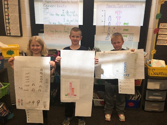Second Grade students at Van Wert Elementary have been working hard on graphing and analyzing data. Here, three students from Mrs. Shindeldecker's class show their completed data results. (Photo submitted.)
