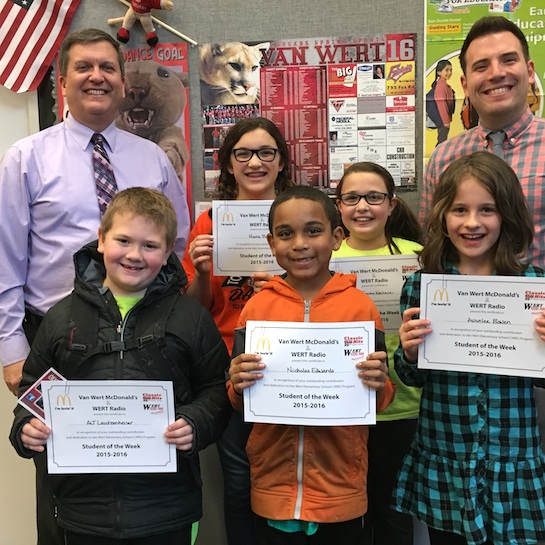 Congratulations to the Van Wert Elementary School Students chosen for the Word of the Week award.  Pictured with Mr. Gehres, Principal, and Mr. Krogman, Assistant Principal, are students chosen by their teachers for being considerate of others.  Award winners this week are AJ, grade 1; Nicholas, grade 2; Avonlee, grade 3; Emma, grade 4; and Maria, grade 5. Each child received a free Mighty Kids Meal from our local McDonalds, a Bounce Certificate from The Kangaroo Cave, Delphos, OH, and a certificate from WERT Radio. (Photo submitted.)